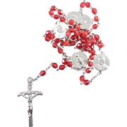 SALE Beautiful Pope John Paul II Rosary With Red Crystal Cut Plastic Beads