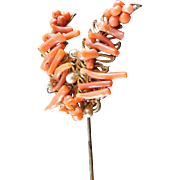 Vintage Signed Miriam Haskell Coral Stick Pin Stickpin