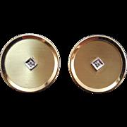 SALE Fabulous Signed Anson Diamond Cufflinks Round Shape 12K Gold Filled - Wedding Prom Jewelr