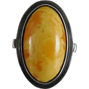 SALE Vintage Baltic Egg Yolk Butterscotch Amber Ring Size 7.5