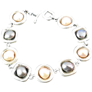 SALE Sterling Silver and Pearl Bracelet - Designer Signed M Bromberg
