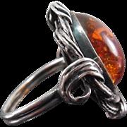 Vintage Sterling Silver & Amber Ring - Polish Marks - Large Stone - Size 9