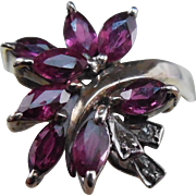 18K Gold Ring Spinel & Diamond Stones - Estate Jewelry White Gold