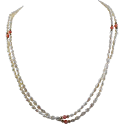 Beautiful 14K Gold Pearl and Pink Stone Necklace - Double Strand