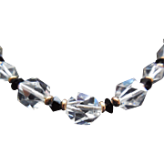 """Gorgeous Signed Simmons Faceted Clear & Black Crystal Necklace - 16"""""""