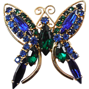 SALE Vintage Butterfly Brooch - Blue and Green Crystal Rhinestones 1960s