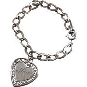 SALE Sterling Silver Charm Bracelet With Heart Shaped Mom Charm Dated 5-8-66