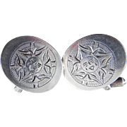 SALE Vintage Mexican Sterling Silver Cufflinks Sun Face Design Signed RBZ