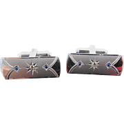 SALE Art Deco Era Signed Sterling Silver Cufflinks - Signed P&K - Blue and Clear Rhinestones