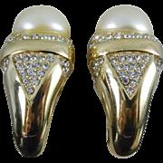 Vintage Ciner Earrings - Huge with Rhinestones and Faux Pearl