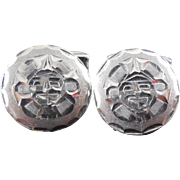 SALE Sterling Silver Mexican Silver Cuff links Sun Face Design - Eagle 19 Jalisco - Signed - .