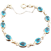 SALE Lovely Gold Filled Bracelet with Teal Crystal Stones - Signed & Safety Chain