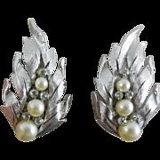 SALE Vintage Rhodium Plate Crown Trifari Earrings With Faux Pearl & Rhinestone