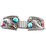 SALE Vintage Native American Sterling Silver Coral Turquoise Watch Tips Signed DG