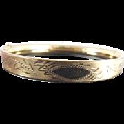 SALE 1/20 12K Gold Filled Hinged Bangle Bracelet With Etched Design