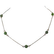 SALE Vintage Signed Krementz Necklace with Green Glass Stones