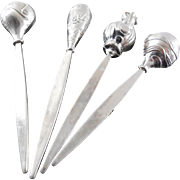 Sterling Silver Appetizer Picks Signed Tow Sterling - Set of 4