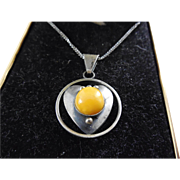 SALE Vintage Butterscotch Amber Necklace 800 Silver on Sterling Silver Chain