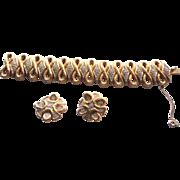 Signed Jomaz Bracelet And Earrings - Beautiful Golden & Rhinestone Chunky Set