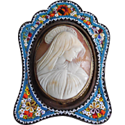 SALE Antique Signed Veiled Madonna Carved Shell Cameo in Micro-Mosaic Frame