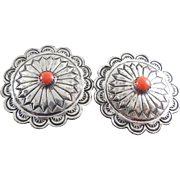 SALE Vintage Concho Earrings With Coral Center Stones