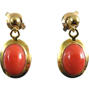 SALE 14K Gold Coral Earrings - Deep Orange Red Color For Pierced Ears