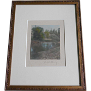 SALE Vintage Framed Wallace Nutting Signed Photo - Water Scene