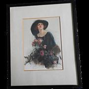 SALE Reginald Pannett 'A Gift' - Edwardian Beauty Framed Silkscreen On Satin