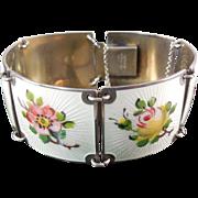 Signed Norway Finn Jensen Sterling Silver & Enamel Wide Link Bracelet With Flower Links