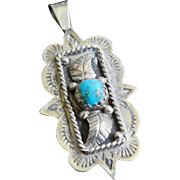 Native American Signed Sterling Silver Turquoise Navajo Pendant with Leaves & Stampings