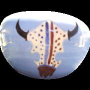 Yakima Nation Pottery Planter With Buffalo Skull Design - Native American Small Planter