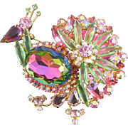 SALE Fabulous Juliana DeLizza and Elster Peacock Brooch - Rainbow of Color!