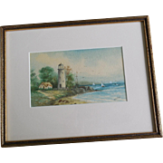 SALE Lighthouse Seascape Watercolor Painting - Signed B? Hamilton