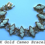 Beautiful Antique Eight Cameo Bracelet in 14K Gold