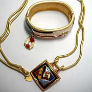 Gorgeous Signed Swarovski Enamel and Crystal Nautical Bracelet and Pendant