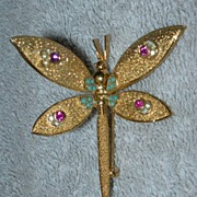 SALE Hinged Wing Dragonfly Brooch - Signed Coro Pat. Pend.