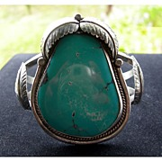 SALE Huge Navajo Silver and Turquoise Cuff Bracelet with Leaves