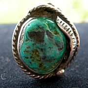 SALE Signed Silver Native American Ring with Large Turquoise Stone - Size 6.5