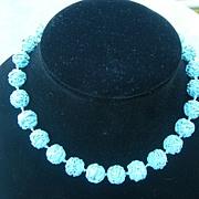 SALE Vintage Robin Egg Blue Glass Necklace Signed Ciner