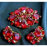 Ruby Red Crystal Rhinestone Brooch and Earring Set