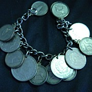 SALE Very Nice Sterling Silver Charm Bracelet with Coins