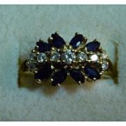 14K Gold Estate Ring - Sapphire and Diamond