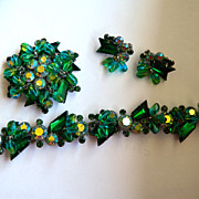 SALE Gorgeous Juliana D&E Parure with Blue Green Arrow and Dangling Stones - Rhodium Plated
