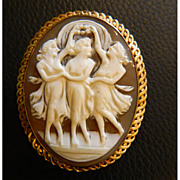 SALE 14K Gold Victorian Era 3 Graces Cameo - Artist Signed and Also Marked ACCO