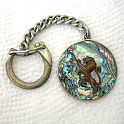 SALE Sterling Mexico Keychain With Rampart Lion Against An Abalone Shell Background