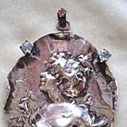 SALE Large vintage art Nouveau and pastes sterling pendant