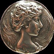 Art Nouveau Style Sterling Cameo Brooch Pendant