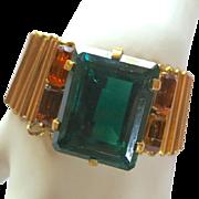 Calvaire 1940's Retro Emerald Green Glass Stone Bracelet