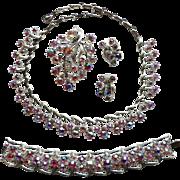 Vintage Coro Pink AB Rhinestone Grand Parure