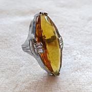 Art Deco Topaz Glass Pinkie Ring